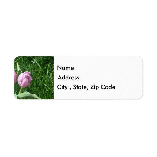 Etiqueta rosada del remite de los tulipanes etiqueta de remite