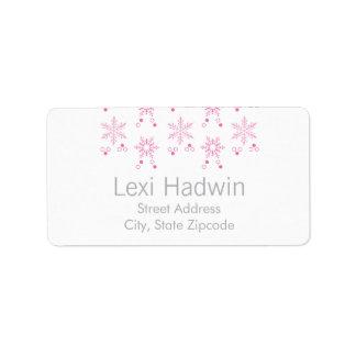 Etiqueta rosada del remite del copo de nieve el | etiquetas de dirección