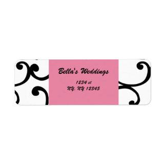 etiqueta rosada del remite del damasco etiquetas de remite