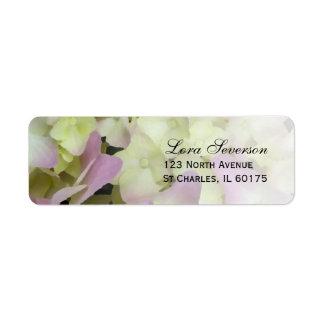 Etiqueta rosada del remite del Hydrangea Etiqueta De Remite