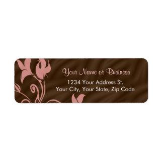 Etiqueta rosada del remite del remolino de Brown Etiqueta De Remite