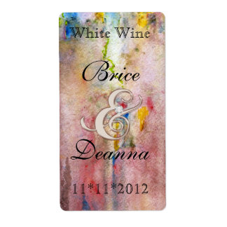 Etiqueta rosada del vino del boda de champán de la etiqueta de envío