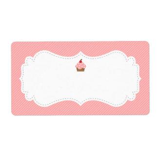 Etiqueta rosada dulce y elegante de la magdalena etiquetas de envío