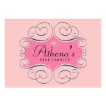 Etiqueta rosada elegante tarjetas de visita