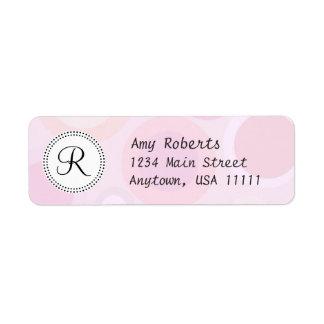 Etiqueta rosada femenina del remite del monograma etiqueta de remitente