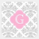 Etiqueta rosada floral del monograma del damasco #