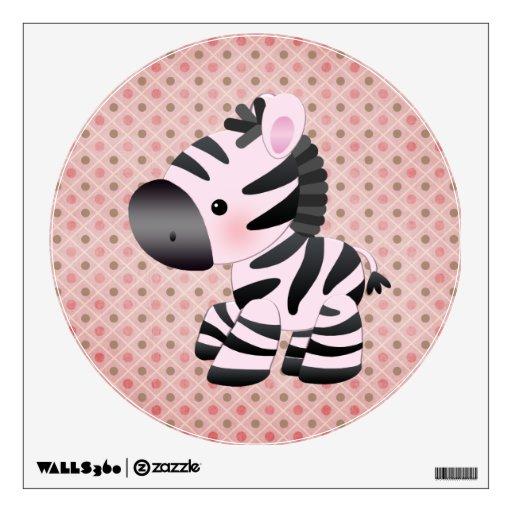 Etiqueta rosada linda de la cebra y de la pared de