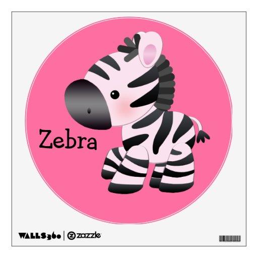 Etiqueta rosada linda de la pared de la cebra