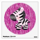 Etiqueta rosada linda de la pared de la cebra y de