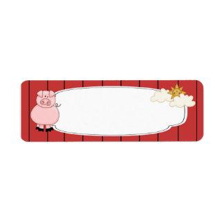 Etiqueta rosada linda del cerdo etiqueta de remite