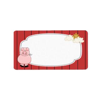 Etiqueta rosada linda del cerdo etiqueta de dirección