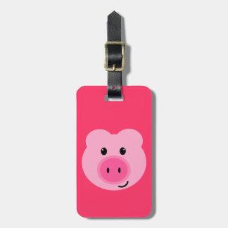 Etiqueta rosada linda del equipaje del cerdo etiqueta de maleta