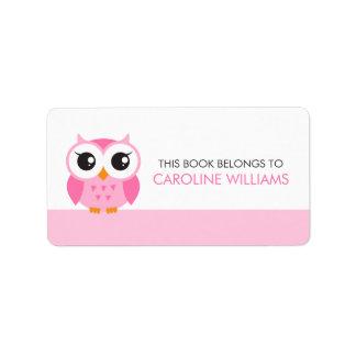 Etiqueta rosada linda del libro del bookplate del  etiqueta de dirección