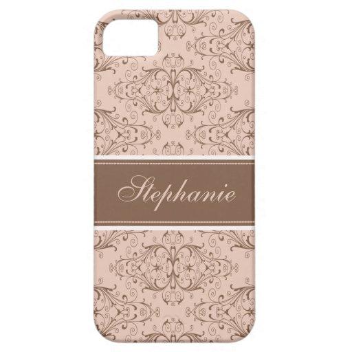 Etiqueta rosada marrón de encargo del damasco iPhone 5 fundas