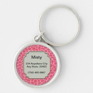 Etiqueta rosada personalizada de la identificación llavero redondo plateado