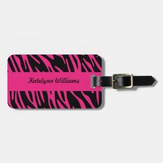 Etiqueta rosada personalizada del equipaje de la