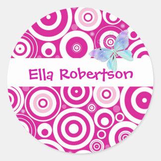 Etiqueta rosada personalizada del nombre del punto