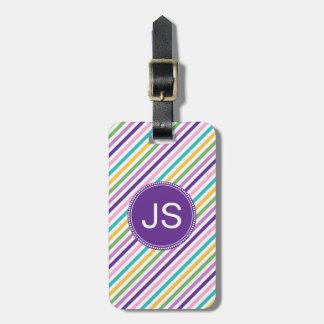 Etiqueta rosada púrpura del equipaje de la raya de
