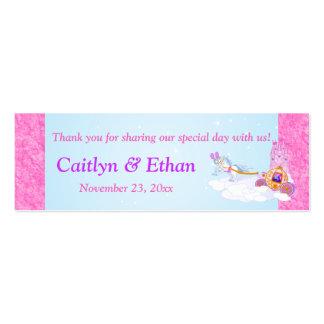 Etiqueta rosada, púrpura del favor del boda del cu tarjetas de visita
