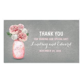 Etiqueta rosada rústica del favor del boda del tarjetas de visita