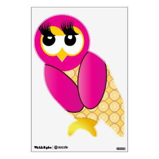 Etiqueta rosada y amarilla de la pared del pájaro vinilo adhesivo