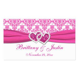 Etiqueta rosada y blanca del favor del boda del da tarjeta de visita