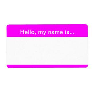 Etiqueta rosada y blanca del nombre de la datación etiqueta de envío