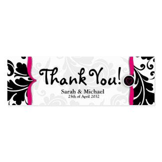 Etiqueta rosada y negra del regalo del favor del b tarjetas personales