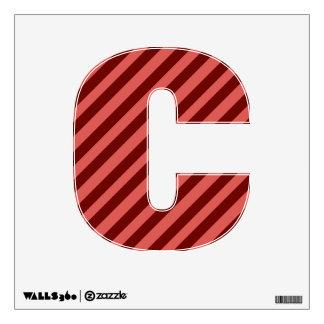 Etiqueta rosada y roja de la pared de la letra C d Vinilo