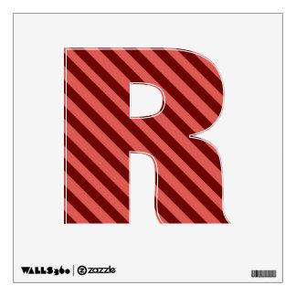 Etiqueta rosada y roja de la pared de la letra R d Vinilo