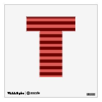 Etiqueta rosada y roja de la pared de la letra T d Vinilo Decorativo