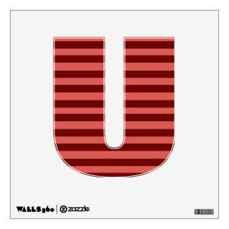 Etiqueta rosada y roja de la pared de la letra U d