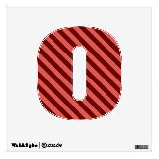 Etiqueta rosada y roja de la pared del número 0 de vinilo adhesivo