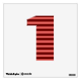 Etiqueta rosada y roja de la pared del número 1 de vinilo