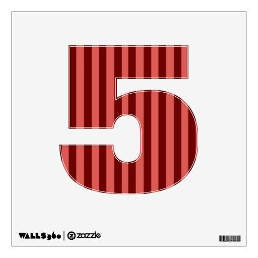 Etiqueta rosada y roja de la pared del número 5 de
