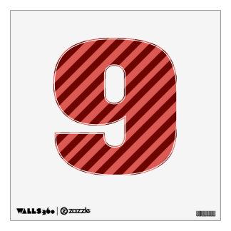 Etiqueta rosada y roja de la pared del número 9 de vinilo decorativo