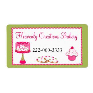 Etiqueta rosada y verde de encargo de la panadería etiquetas de envío