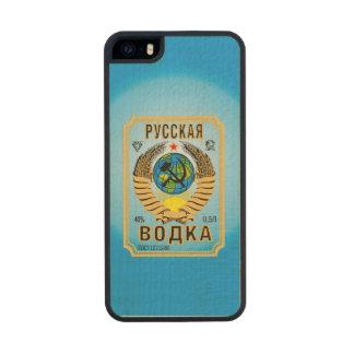 Etiqueta rusa de la botella de la marca de la funda de arce carved® para iPhone 5 slim