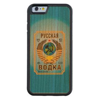 Etiqueta rusa de la botella de la marca de la funda de iPhone 6 bumper cerezo