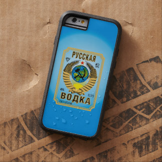 Etiqueta rusa de la botella de la marca de la funda de iPhone 6 tough xtreme