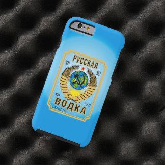Etiqueta rusa de la botella de la marca de la funda para iPhone 6 tough
