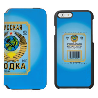 Etiqueta rusa de la botella de la vodka funda billetera para iPhone 6 watson