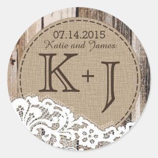 Etiqueta rústica de madera y del boda del