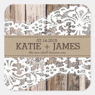 Etiqueta rústica de madera y del boda del país del