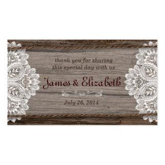 Etiqueta rústica del favor del boda del granero tarjetas de visita