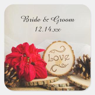 Etiqueta rústica del favor del boda del invierno