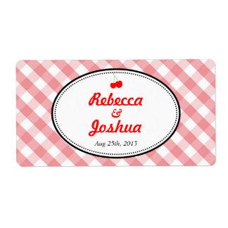 Etiqueta rústica del favor del boda del país rosad etiquetas de envío