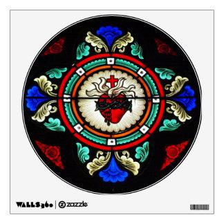 Etiqueta sagrada de la pared del corazón (vitral) vinilo adhesivo