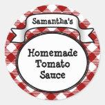 Etiqueta salsa de tomate de la guinga o del tarro/