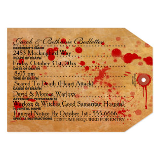 Etiqueta sangrienta del dedo del pie de Halloween Comunicado Personal